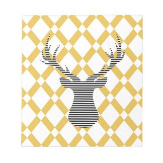 Bloc-note Cerfs communs - motif géométrique - beige et blanc