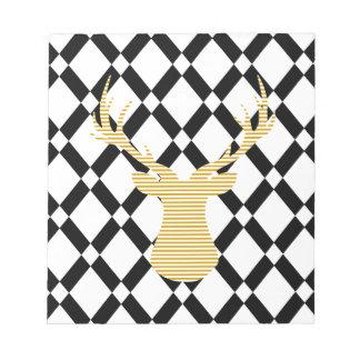Bloc-note Cerfs communs - motif géométrique - noirs et