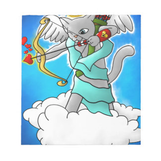 Bloc-note Chat gris de cupidon de Smokey de Saint-Valentin