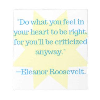 Bloc-note Citation d'Eleanor Roosevelt