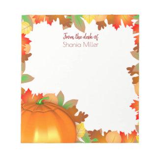 Bloc-note Citrouille coloré de feuille d'automne - bloc -