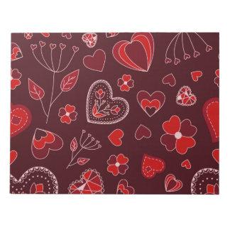 Bloc-note Coeurs et bloc - notes rouges de fleurs - 40 pages