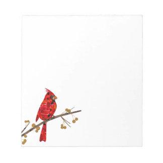 Bloc-note Collage cardinal d'oiseau de Noël