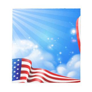 Bloc-note Conception d'arrière - plan de ciel de drapeau