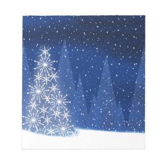 Bloc-note Conception de vacances d'arbre de Noël de nuit de
