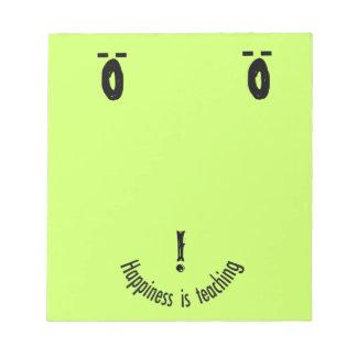 Bloc-note Conception souriante de visage de note de Teacher