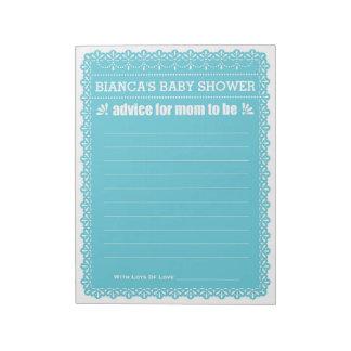Bloc-note Conseil pour que la maman soit baby shower bleu de