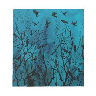 Bloc-note Corneilles d'aquarelle en bois la nuit