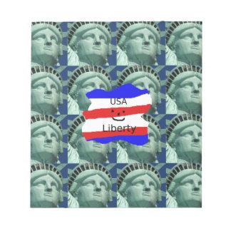 Bloc-note Couleurs de drapeau des Etats-Unis avec la statue