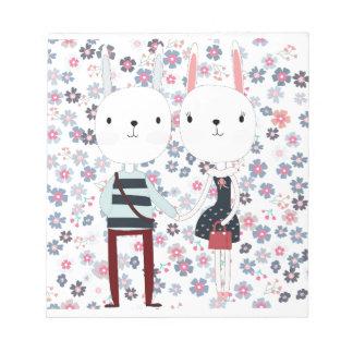 Bloc-note Couples mignons vintages de lapin de lapin dans le