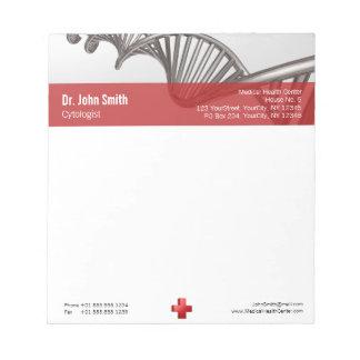 Bloc-note Croix-Rouge médicale professionnelle d'ADN - bloc