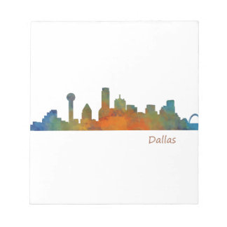 Bloc-note Dallas Texas Ville Watercolor Skyline Hq v1