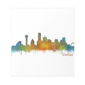 Bloc-note Dallas Texas Ville Watercolor Skyline Hq v2