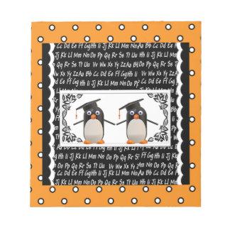 Bloc-note Deux pingouins de graduation, ABC ont cranté