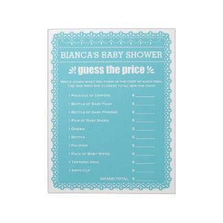 Bloc-note Devinez le baby shower bleu de Papel Picado des