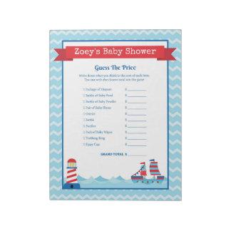 Bloc-note Devinez le baby shower nautique de thème des prix