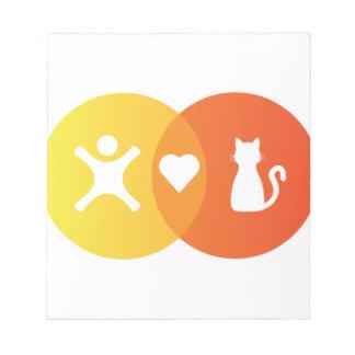 Bloc-note Diagramme de Venn de chats de coeur de personnes
