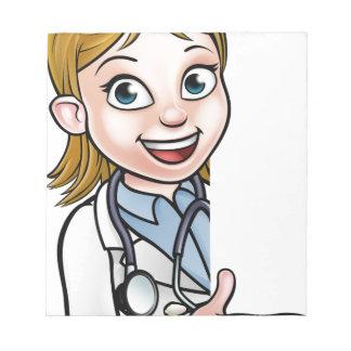 Bloc-note Docteur personnage de dessin animé dirigeant le