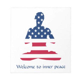 Bloc-note Drapeau de yoga d'Américain de méditation des