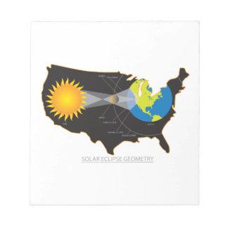 Bloc-note Éclipse 2017 solaire totale à travers la géométrie