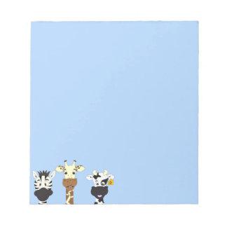 Bloc-note Enfants drôles de bande dessinée de vache à girafe