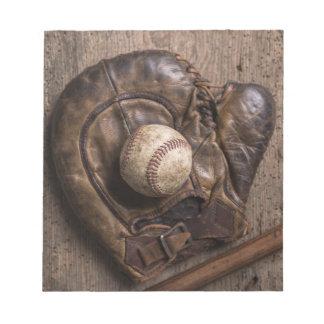 Bloc-note Équipement de base-ball vintage
