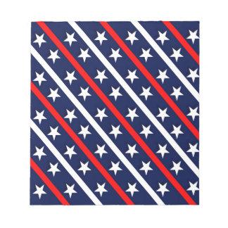 Bloc-note étoiles bleues blanches rouges patriotiques
