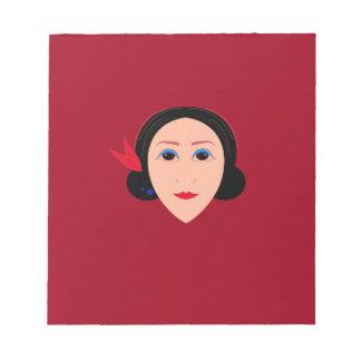 Bloc-note Femme de santé de l'Asie sur le rouge