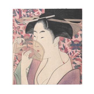 Bloc-note Femme japonaise tenant un peigne, Kitagawa Utamaro