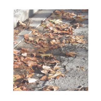 Bloc-note Feuille mort se trouvant au sol en automne
