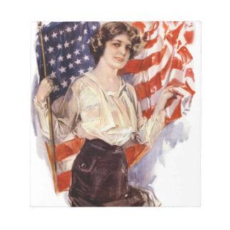 Bloc-note fille vintage de drapeau américain