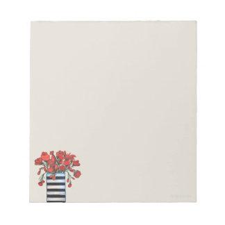 Bloc-note Fleurs rouges avec la peinture rayée de vase