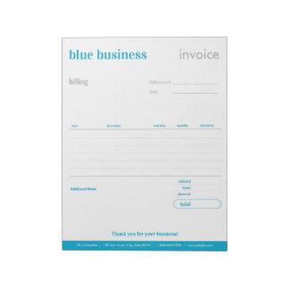 Bloc-note Forme d'ordre vide ou bloc - notes bleue de
