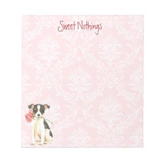 Bloc-note Fox Terrier rose de jouet de Valentine