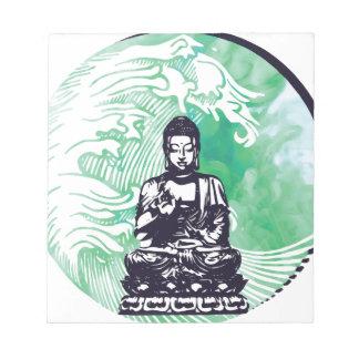 Bloc-note Fumée d'émeraude de vague de Bouddha d'ouragan