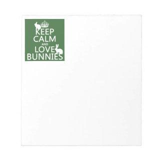 Bloc-note Gardez le calme et aimez les lapins - toutes les
