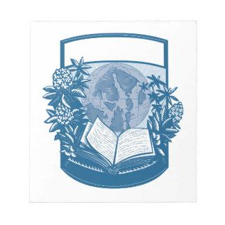 Bloc-note Gravure sur bois en livre d'île d'orques de