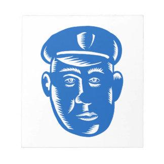 Bloc-note Gravure sur bois en tête de policier