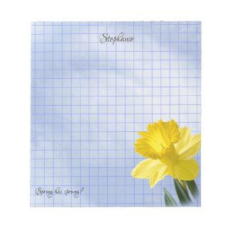 Bloc-note Grille géométrique de photographie florale jaune