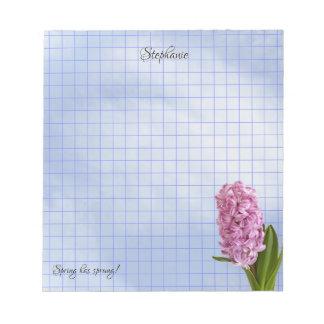 Bloc-note Grille géométrique de photographie florale rose de