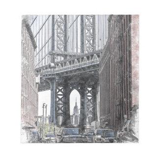 Bloc-note Horizon de pont des Etats-Unis New York Manhattan
