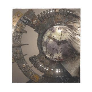 Bloc-note Horloge surréaliste de barre de femme de portrait