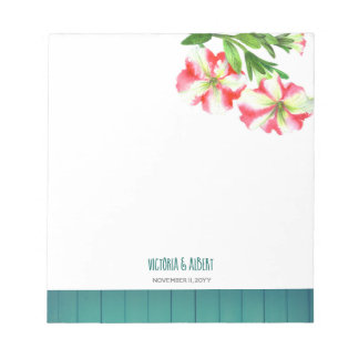 Bloc-note Illustration rose et blanche d'aquarelle de