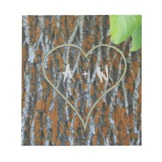 Bloc-note Initiales personnalisées sur un arbre
