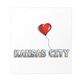 Bloc-note J'aime Kansas City avec l'horizon de kc à