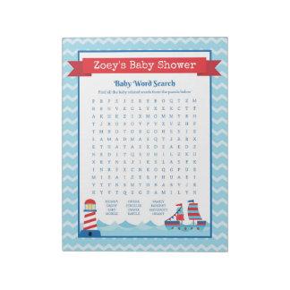Bloc-note Jeu nautique de baby shower de thème de recherche