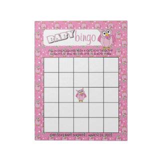 Bloc-note Jeu rose de bingo-test de thème de baby shower de