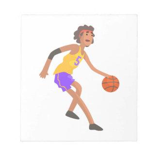 Bloc-note Joueur de basket dans l'autocollant rouge d'action