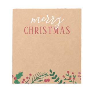 Bloc-note Joyeux Noël de Papier d'emballage, de houx et de