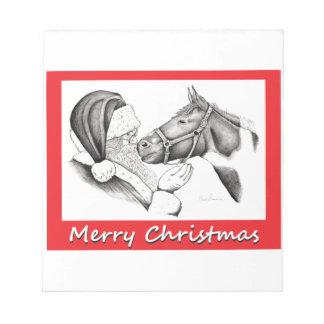 Bloc-note Joyeux Noël Père Noël et cheval